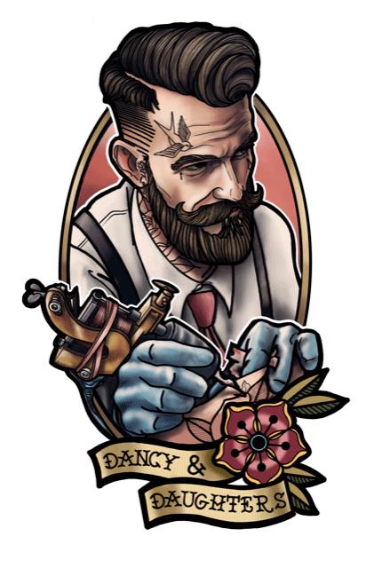 tegning af mandelig tatovør
